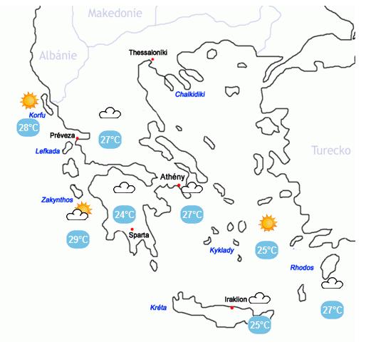 počasí Řecko